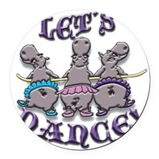 Lets Dance! (hippos) Round Car Magnet