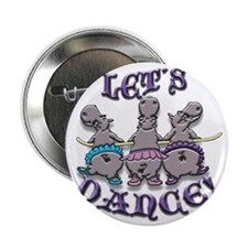"Lets Dance! (hippos) 2.25"" Button"
