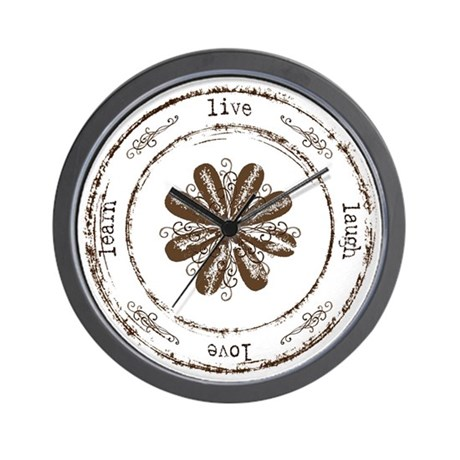 live, laugh, love, learn Wall Clock