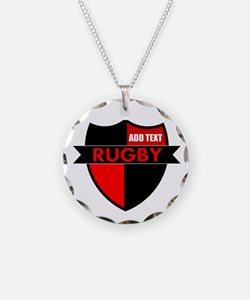 Rugby Shield Black Red Necklace