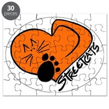 Streetcats logo white oval for dark apparel Puzzle