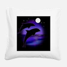 Dolphins bg Square Canvas Pillow