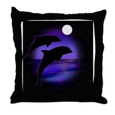 Dolphins bg Throw Pillow