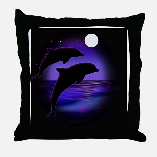 Dolphins bg Throw Pillow