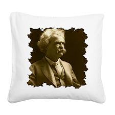 Twain1906_portraitseated_brad Square Canvas Pillow
