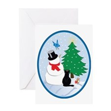 Snow friends-oval Greeting Card