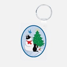 Snow friends-oval Keychains