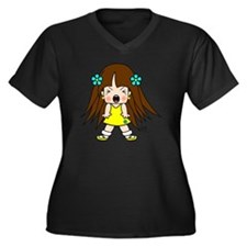 Angry Cute L Women's Plus Size Dark V-Neck T-Shirt