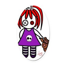 Cute Gothic  Redhead Little girl Oval Car Magnet