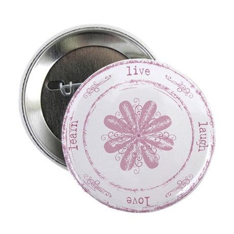 """live, laugh, love, learn 2.25"""" Button (100 pack)"""