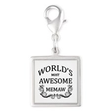 World's Most Awesome Memaw Silver Square Charm
