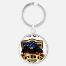 Proud to be a Veteran Round Keychain