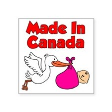 "Made In Canada Girl Square Sticker 3"" x 3"""
