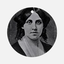 Louisa May Alcott with messed edge Round Ornament