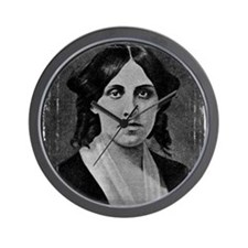 Louisa May Alcott with messed edge Wall Clock
