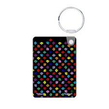 PawPrintRBblackFlipFlops-a Keychains