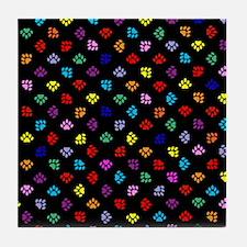 PawPrintRBblackFlipFlops-a Tile Coaster