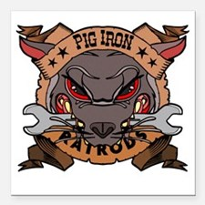 "Pig Iron Rat Rods Square Car Magnet 3"" x 3"""