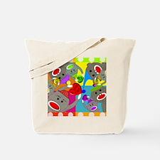 sock monkey blanket 4 MULTI COLOR Tote Bag