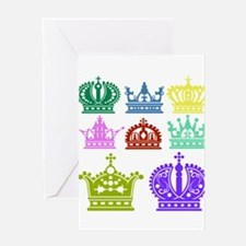Colored Crown Silhouette Collection Greeting Cards