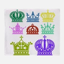 Colored Crown Silhouette Collection Throw Blanket