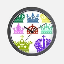 Colored Crown Silhouette Collection Wall Clock