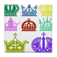 Colored Crown Silhouette Collection Tile Coaster