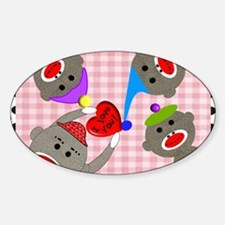 sock monkey blanket 1 Sticker (Oval)