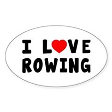I Love Rowing Decal
