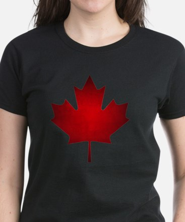 Maple Leaf Grunge Women's Dark T-Shirt