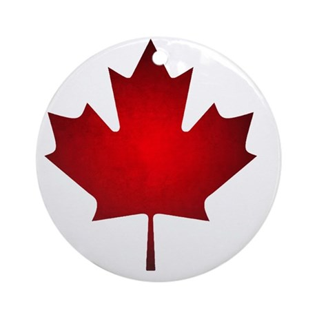 Maple Leaf Grunge Round Ornament