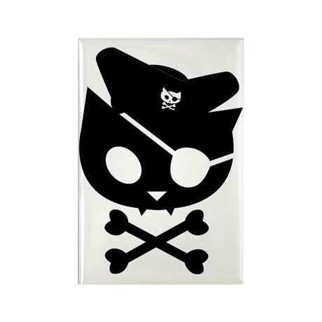 Pirate Kitty Captain Cat Rectangle Magnet