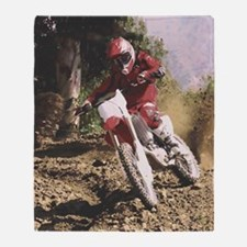Motocross Rider Sprays Rocks Throw Blanket