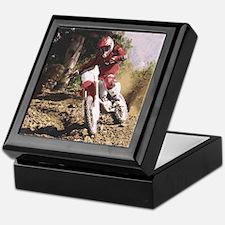 Motocross Rider Sprays Rocks Keepsake Box