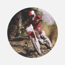 Motocross Rider Sprays Rocks Round Ornament