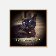 "Burmese Cat (FancieR) Square Sticker 3"" x 3"""