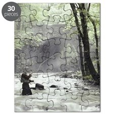 Fly Fisherman in Misty Stream Puzzle