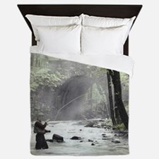 Fly Fisherman in Misty Stream Queen Duvet