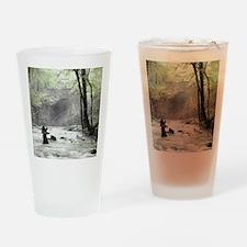 Fly Fisherman in Misty Stream Drinking Glass