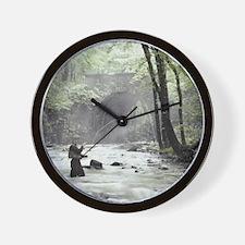 Fly Fisherman in Misty Stream Wall Clock
