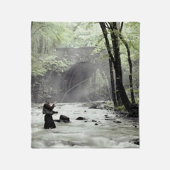 Fly Fisherman in Misty Stream Throw Blanket
