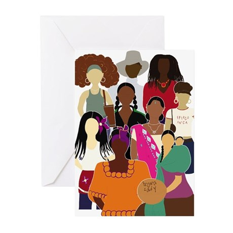 Brown Lady Collage Greeting Cards (Pk of 10)