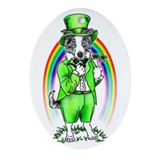 Border Collie Leprechaun Oval Ornament