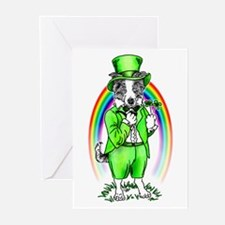 Border Collie Leprechaun Greeting Cards (Package o