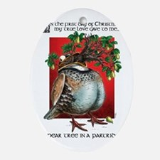 A Pear Tree in a Partridge Oval Ornament