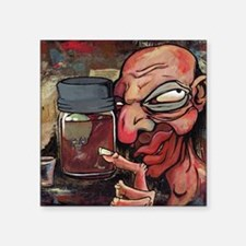 "Zombie Baby in a Jar on a M Square Sticker 3"" x 3"""