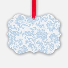 Sky Blue and White Damask Ornament