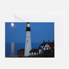 Super Moons Lighthouse View Greeting Card