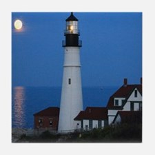 Super Moons Lighthouse View Tile Coaster