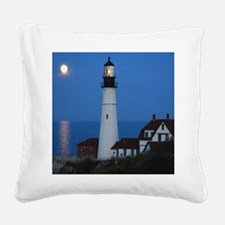 Super Moons Lighthouse View Square Canvas Pillow